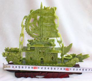840g Chinese Luonan Jade Dark Green Jade Refineness Hand - Carved Ship Statue photo