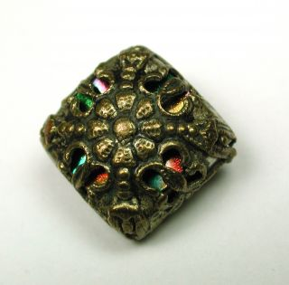 Antique Pierced Brass Button Filigree Square W/ Colored Twinkle Liner photo