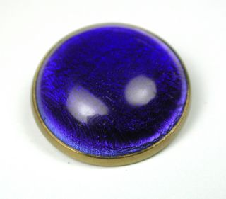 Antique Glass In Metal Button Cobalt Blue Dome With Brass Back photo