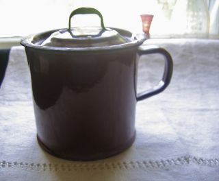 Antique Enamelware Milk Boiler Cup Mug With Lid Rustic photo
