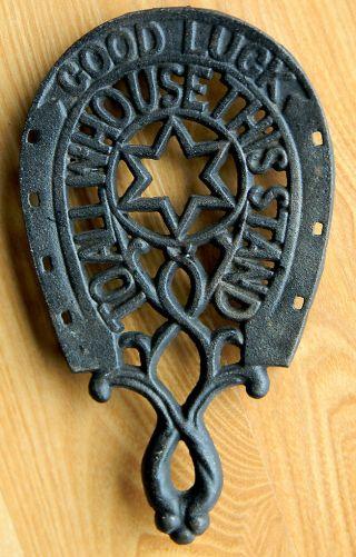 Antique Vintage Wilton Cast Iron Horse Shoe Star Trivet Good Luck Stand photo