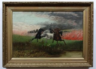 Powerful California Landscape Oil Painting Forest Fire Lighting Strike Horses photo