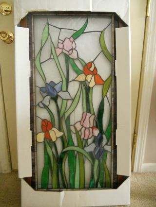 Tiffany Styled Art Glass Iris Window Panel photo