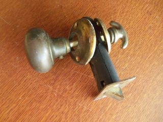 Antique Vintage Craftsman Brass Pantry Or Bathroom Latch Set - Knob,  Lever,  Lock photo
