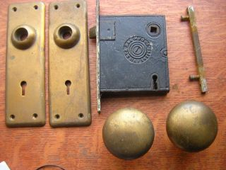 Antique Elegant Cast Brass Doorknobs & Doorplates By Russell & Erwin C1890 photo