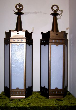 Vtg.  Suberb Huge Pair Gothic Church Wall Sconces Or Lantern Chandelier 50s - 60s photo