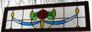 Stained Glass Cottage Window Transom Panel - Red Mackintosh Rose photo