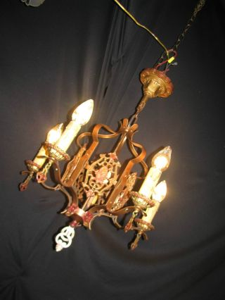 Vtg Gothic Wroth Cast Iron Tole Toleware Chandelier Ceiling Light Fixture Old photo
