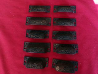 Hard To Find Set 0f 10 Antique Victorian Cast Iron Eastlake Bin Drawer Pulls photo