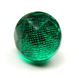 Antique Glass Button Faceted Green Ball W/ Silver Foil Insert photo