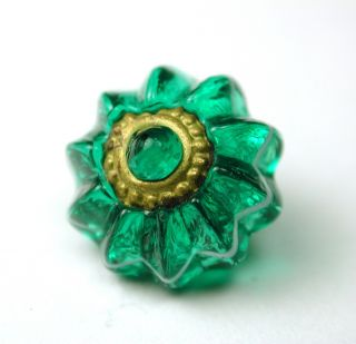 Antique Charmstring Glass Button Green Candy W/ Brass Ome Ring Mold Swirl Back photo