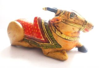 Old Vintage Hand Crafted Wooden Lacquer Painted Nandi Decorative Toy photo