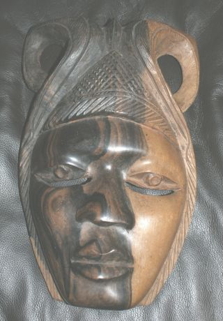 African Ebony Carved Mask,  Vintage photo