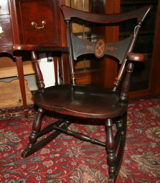 Gorgeous English Antique Mother Of Pearl Rocking Chair photo