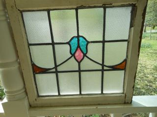 H224 Older And Pretty Multi - Color English Leaded Stained Glass Window photo