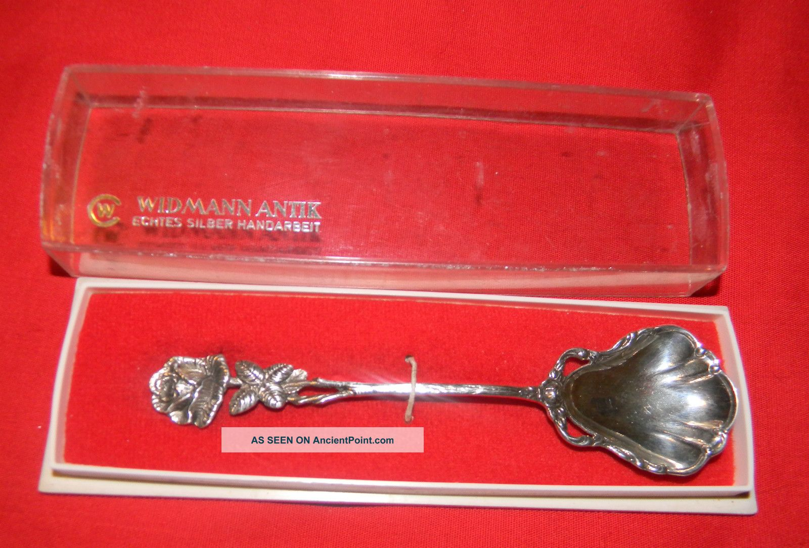 Antique Widmann Antik Echtes Silber Handarbeit 835 German Svr.  Rose Handle Spoon Germany photo