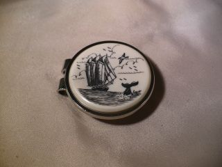 Scrimshaw Resin Money Clip Schooner - Whale Tail photo