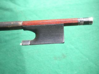 Old /antique Violin Bow Silver/ebony Frog Round Pernambuco 4/4 C.  1890 - 1930 photo