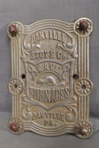 Antique Beaver Stove Plate Label Danville Pennsylvania Cast Iron Animal photo