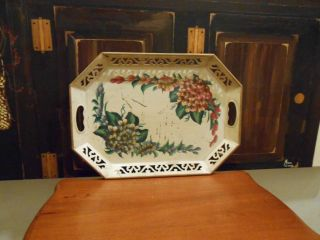 Antique/vint Cream Colored Tole Tray With Blue & Maroon Flowers With Lace Edging photo