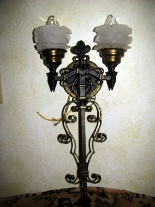 Vtg Gothic Deco Wroth Spelter Toleware Sconce Wall Light Fixture Glass Shade photo