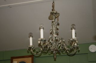 Iron Chandelier Rose Buds Basket Weave Cream Muted Green Vintage Electric photo
