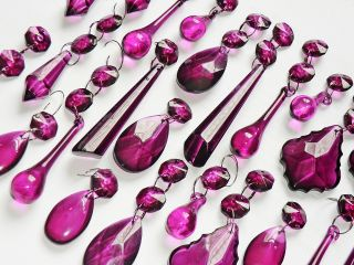 Laura Ashley Chandelier Light Drops Glass Droplets Crystals Aubergine Purple photo