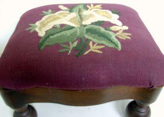 Antique Dutch / Continental Serpentine - Edge,  Ball - Foot Needlepoint Footstool photo