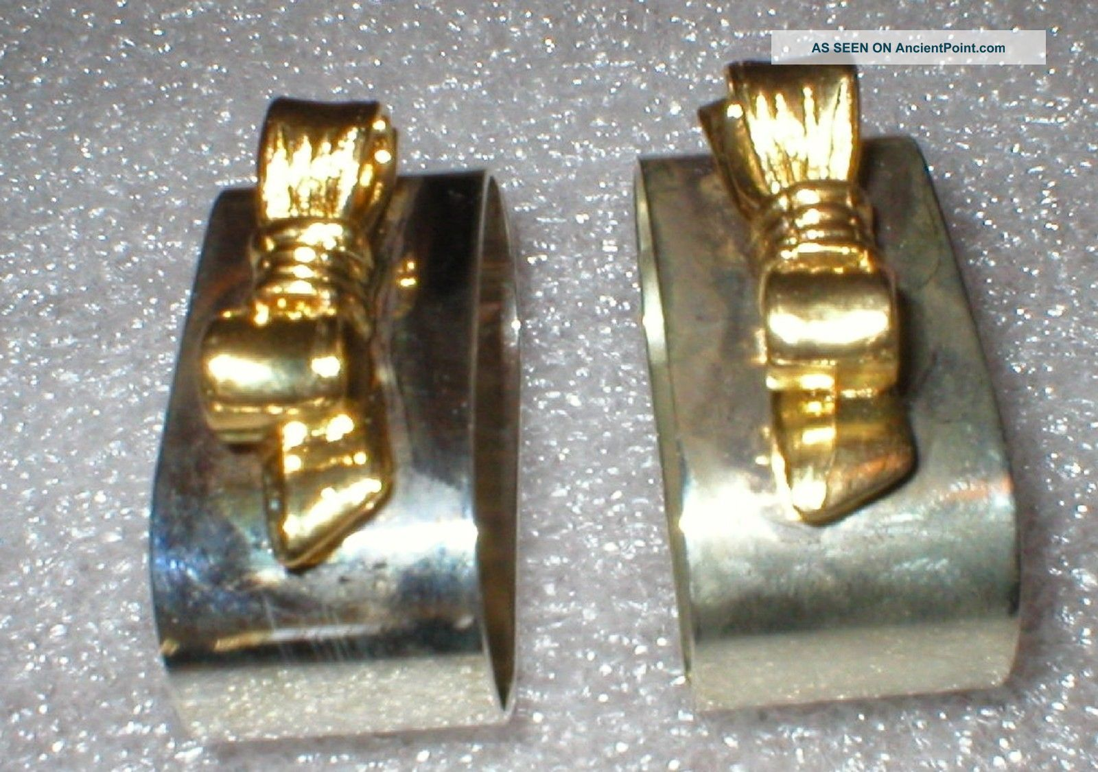 Napkin Rings Audrey Silverplate And Gold Colored Bows Rings Napkin Rings & Clips photo