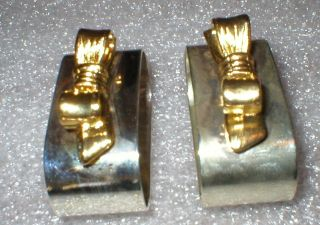 Napkin Rings Audrey Silverplate And Gold Colored Bows Rings photo