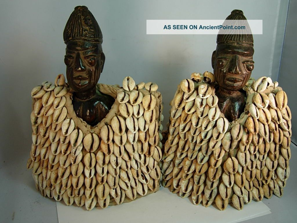 Ere Ibeji Twins With Cowrie Shell Jackets,  Yoruba / Santeria Sculptures & Statues photo