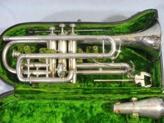 Antique 1920s Beuscher Elkhart True - Tone Trumpet W/ Case & Accesories photo