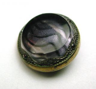 Antique Glass In Metal Button Design Under Surface W/ Brass Border photo