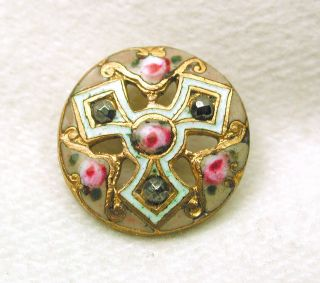 Antique French Enamel Button Pierced Floral Triad With Cut Steel Accents photo