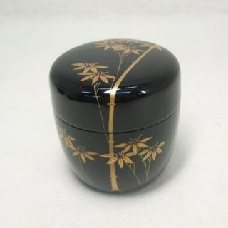 E446: Japanese Lacquer Ware Powdered Tea Container With Makie Of Bamboo. photo