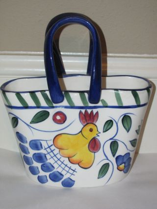 Vintage Porceline Hand Painted Art Decor Purse Vase 7,  5