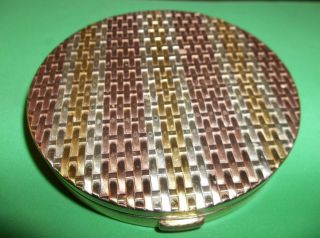 1940s Sterling Silver Evans Weave Compact Case Vanity Box 142.  7 Grams 4 + Ozs photo