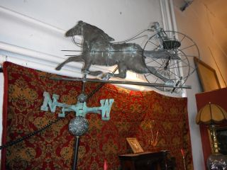 1950 ' S Era Large Copper Weathervane With Horse And Rider photo