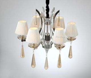 6 Light White Silk Lampshade Cognac Color Crystal Metal Hanging Chandelier Lamp photo