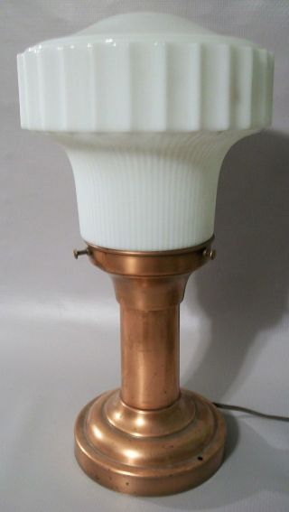 1930 ' S Vintage Art Deco White Stepped Glass & Metal Ceiling Light Fixture/lamp photo