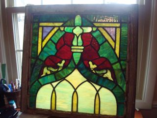 Antique Ooak Stain Glass Window 28