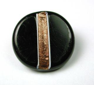 Antique Swirl Back Glass Button W/ Gold Sparkle & White Stripe Design photo
