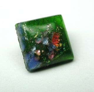 Antique Leo Popper Glass Button Green Square W/ Blue & Pink photo