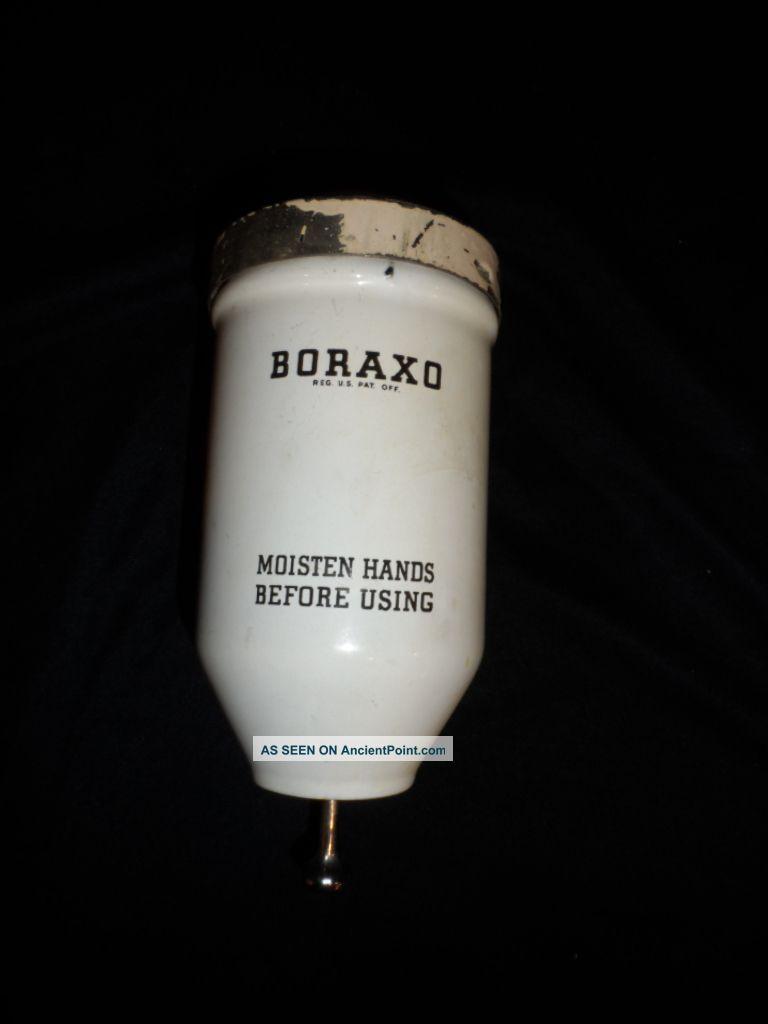 Vintage Porcelain Enamel Borax Boraxo Soap Dispenser Gas Station Wall Mount Sinks photo