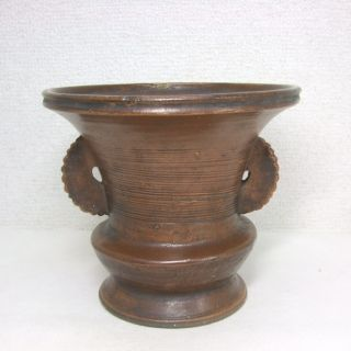 E594: Real Japanese Old Bizen Pottery Ware Flower Vase In 1700 ' S With Good Glaze photo