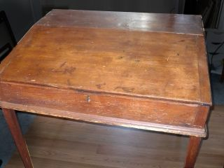 Antique Southern Heart Pine School Masters Desk Primitive One Room Schoolhouse photo