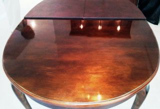 Solid Mahogany Oblong Dinning Table With Extent Leaf And Heat Resistant Pad photo