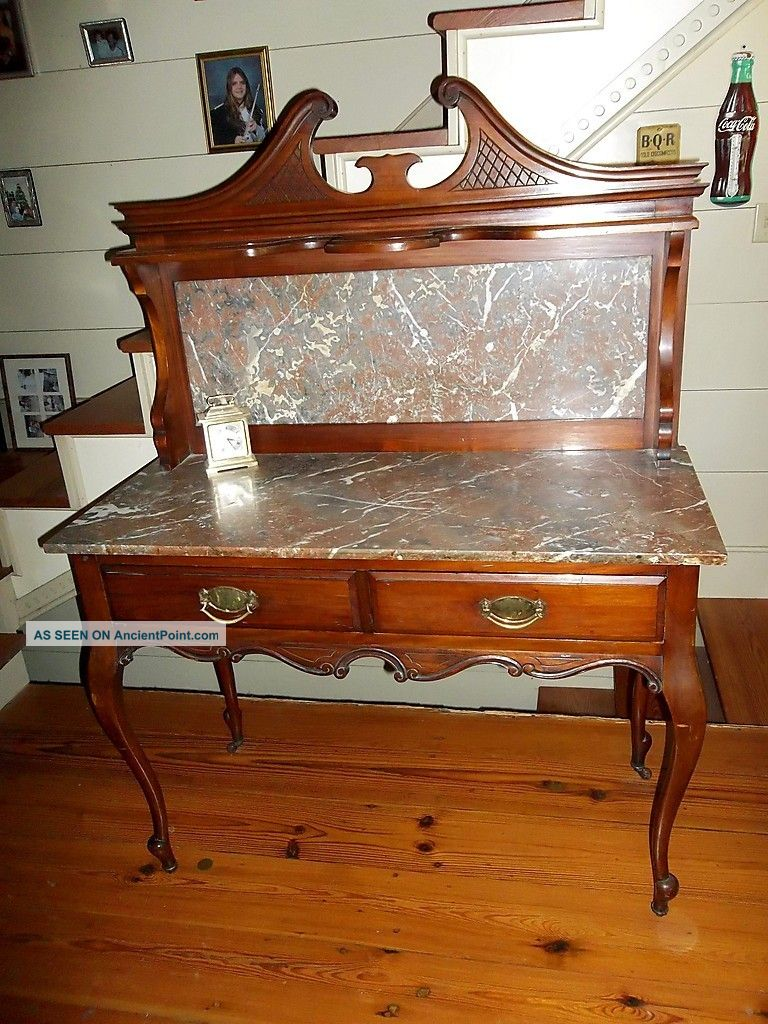 1800 ' S Solid Cherry Marble Top And Backsplash Buffet,  Server,  Washstand 1800-1899 photo