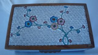 Antique Chinese Cloisonne Hinged Box Floral Design photo