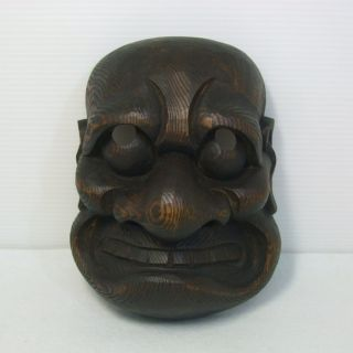 D827: Japanese Old Wood Carving Ware Dharma Mask With Wonderful Atmosphere photo